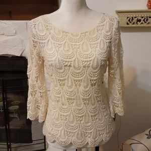 2/$30 ADIVA IVORY CROCHETED TOP SWEATER SIZE PS